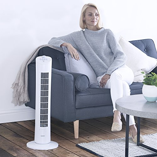 """VonHaus Oscillating Tower Fan - 31"""" Upright Cooling Fan for Home or Office - Includes 3 Breeze Speed Settings, and 2 Hour Timer - 70 degrees Oscillation - White"""