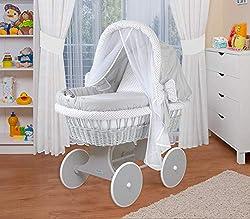 WALDIN Baby Stubenwagen-Set mit Ausstattung XXL Bollerwagen,komplett 6 Modelle w/ählbar,beige//gelb//wei/ß
