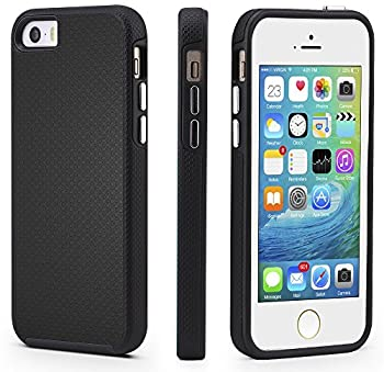 CellEver iPhone 5/5s/SE Case Dual Guard Protective Shock-Absorbing Scratch-Resistant Rugged Drop Protection Cover for iPhone 5/5S/SE  Black