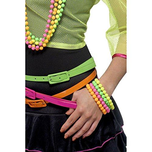NET TOYS Quatre Bracelets fluos Jaune, Vert, Rose et Orange Bracelets de Perles années 80 Bracelets Bijoux fluorescents Bracelets fluos Accessoires