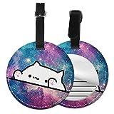 Etiquetas De Equipaje De Cuero Sintético Identificación De Nombre con Cubierta De Privacidad Trasera para Maleta De Viaje, Original Cat Stars 5