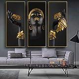 HUANGXLL Mujer Negra con Pinturas en Lienzo en la Pared, Carteles e Impresiones artísticos, Cuadros de Arte al óleo de Mujer Africana para Sala de Estar / 40x80cmx3 Piezas sin Marco