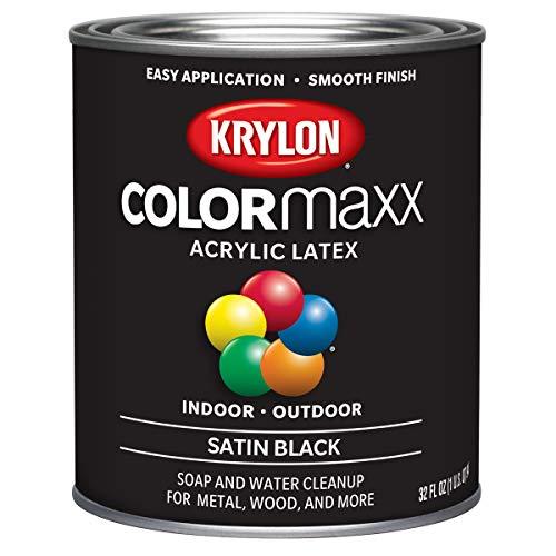 Krylon K05626007 COLORmaxx Brush On Paint, Quart, Black