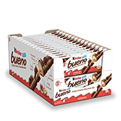 Kinder Bueno is a crispy, creamy, and delicious chocolate bar - an unexpected combination of tastes and textures perfect for sharing, gifts, stocking stuffers, and party favors for boys and girls Beneath a layer of smooth milk chocolate lies a crispy...