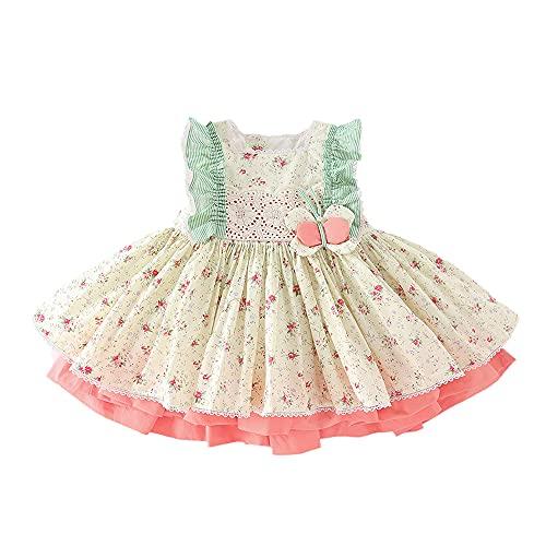 Smile Diary Vestido de niñas Estilo de Verano Estilo Floral Imprimir Fairy Children Princess Dress + Bragas Ropa para niños con Lazo Grande 0-5Y(A,5T)
