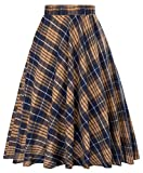 Vintage A-line Skirt Cocktail Party Coffee Grid Print Size L KK495-4