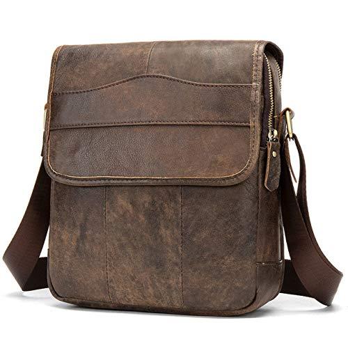 PIANYIHUO briefcaseFashion Shoulder Bags for Men Genuine Leather Business Briefcase Men Crossbody Bag Satchel Vintage Messenger Bags,Grind Coffee