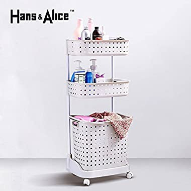 Hans&Alice Laundry Basket with Wheels, Laundry Storage Cart for Laundry Room Organization, Rolling Laundry Cart, Plastic 80lbs Capacity