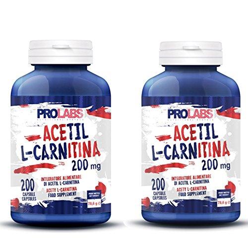 PROLABS CARNITINA 2 X 200 CPS. TOTALE 400 CAPSULE L-CARNITINA DIMAGRANTE BRUCIAGRASSI + PORTAPILLOLE NUTRILINE OMAGGIO