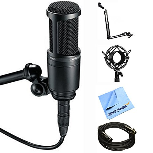 Audio-Technica Side Address Cardioid Condenser Studio Microphone (AT2020) with Microphone Suspension with Boom Scissor Arm Stand, Metal Microphone Shock Mount, Microfiber Cloth & Gold Plated Cable