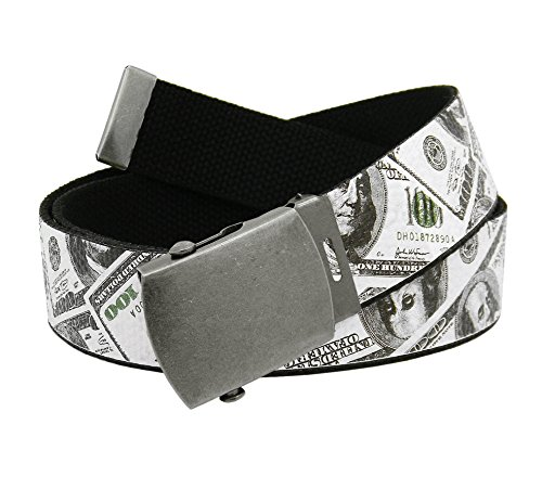Men's Antique Silver Slider Belt Buckle with Printed Canvas Web Belt Medium Cash Money Print
