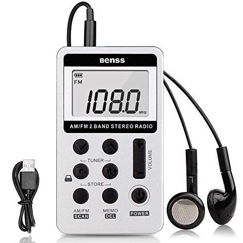 Mini Radio Portátil Pequeña Mini Radio de Bolsillo Am FM Estéreo Sintonización Digital Radio con Pantalla LCD Cordón USB Recargable y Auriculares (Silver)