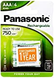 Panasonic Ready to Use Batterie Ricaricabili Ministilo AAA, 750 mAh, Blister 4, Argento