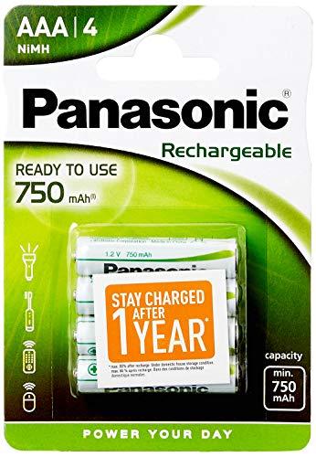 Panasonic P03E/4BC Rechargeable EVOLTA micro AAA Batterie (1,2V, 750mAh, 4-er Pack)