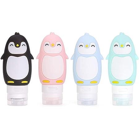 MUUZONING Bottiglie da Viaggio in Silicone-Pinguino carino- Senza BPA, Approvata dalle TSA - per Shampoo Personale, balsamo, Gel Doccia, lozione idratante - Set di 4 Bottiglia (90ml)