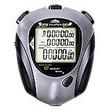 BizoeRade Cronometro, 60 cronometri da Memoria suddivisa in Lap, Funzione Conto alla rovescia, Funzione metronomo, cronometro Fitness con Display a 3 Righe con retroilluminazione El (Grigio)