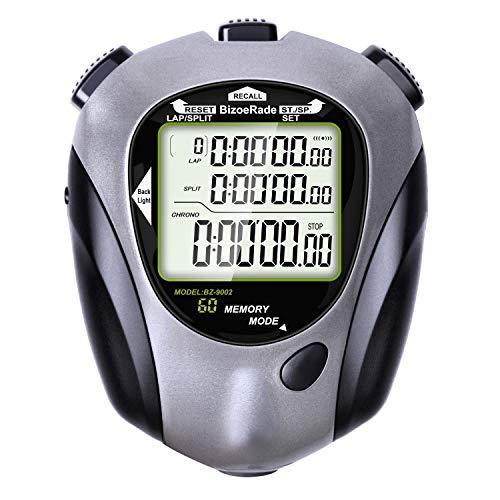 BizoeRade Stoppuhr mit Hintergrundbeleuchtung, 60 Stück Speicherdaten Stoppuhren mit Countdown-Funktion und Metronom-Funktion für Fußball Baseball Basketball Sport Schiedsrichter Trainer