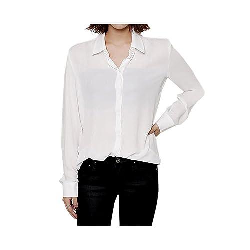 6a70411219eca3 ARJOSA Women's Chiffon Long Sleeve Button Down Casual Shirt Blouse Top