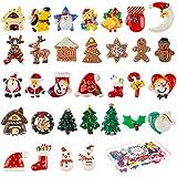 MELLIEX 32 Piezas Mini Adornos de Navidad, Adornos de Resina Figuras Navideñas Miniatura Papá Noel...