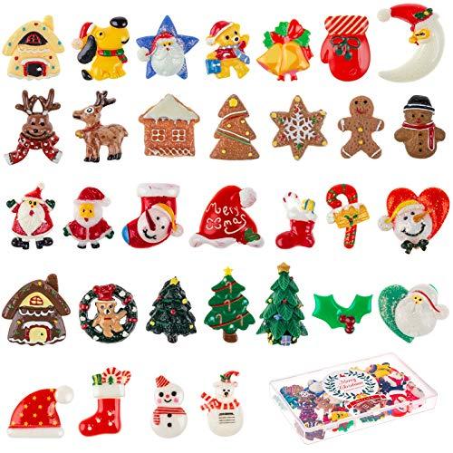 MELLIEX 32 Piezas Mini Adornos de Navidad, Adornos de Resina Figuras Navideñas Miniatura Papá Noel Árbol de Navidad para Regalo, Calendario de Adviento, Mini jardín