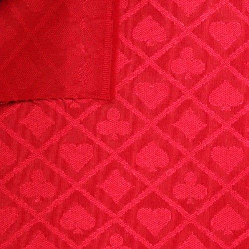 Tessuto per tovaglia per tavolo da poker, venduto al metro, deluxe, motivo: carte da gioco, colore: rosso