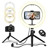 Ring Light with Stand, GPED 10.2' Dimmable LED Desk Makeup Beauty RingLight with Phone Holder for iPhone/Android/YouTube Video/Live Stream/Photography, 3 Light Modes & 10 Brightness Level