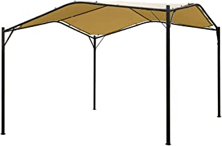 Mefo garden 12 x 12 ft Outdoor Patio Swan Gazebo Canopy for Backyard, Iron, 250gsm Polyester Canopy, Beige