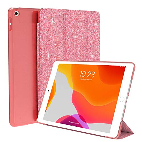 LKXING iPad 8th Generation Case, iPad 7th Generation Case, iPad 10.2 Case, Glitter Bling Slim Lightweight Stand Hard Back Shell Protective Smart Shiny PU Leather Protective Case Cover