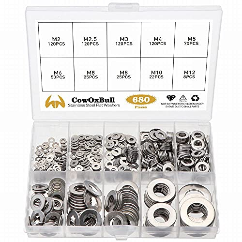 304 Stainless Steel Flat Washers Set 680 Pieces CowOxBull...