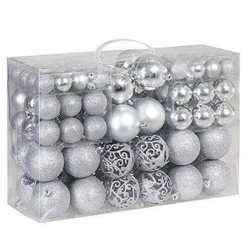 decorazioni natalizie argento Deuba Palle di Natale 100pz Palline Natalizie Decorazioni Addobbi Feste per Albero di Natale Argento