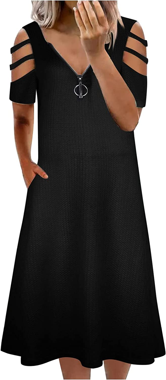 iQKA Women's Sexy Cold Shoulder Shift Dress Summer Casual Zipper V-Neck Short Sleeve Pocketed Dresses Vestidos