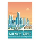 Buenos Aires Vintage-Reise-Poster auf Leinwand, Kunstdruck,
