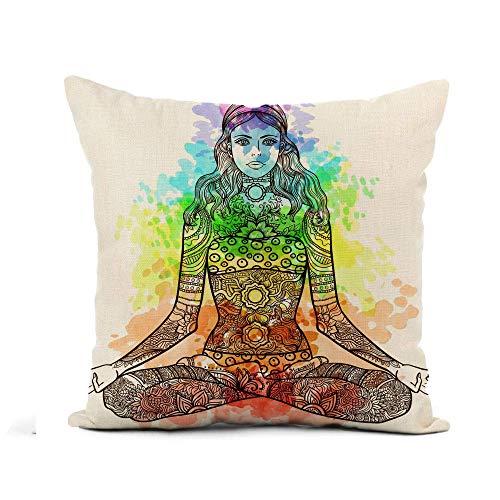Funda de almohada para mujer sentada en yoga, diseño de loto y tatuaje Mehendi Zentangle funda de almohada cuadrada de poliéster, 30,5 x 30,5 cm