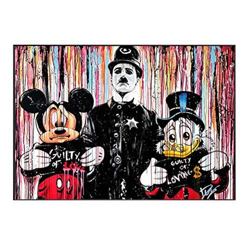 Imagen de arte para decoración de paredes - Arte pop moderno Graffiti abstracto arte Mickey Mouse y Donald Duck y Chaplin retrato póster impresiones en lienzo - Sin marco,70×100cm