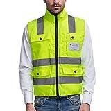 SFVest - Chaleco Reflectante Hombre para Bicicleta Moto Trabajo Noctura con Multi Bolsillos Color Fluorescente de Seguridad - Amarillo - XL