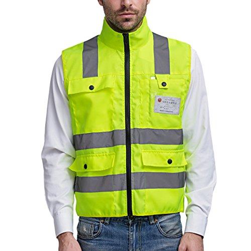 SFVest SFVest Warnweste Atmungsaktiv Stehkragen Sicherheitsweste Reflektierende Weste mit 4 Taschen - Neon Gelb Größe M