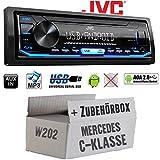 Autoradio Radio JVC KD-X151 | MP3 | USB | Android 4x50Watt - Einbauzubehör - Einbauset für Mercedes C-Klasse JUST SOUND best choice for caraudio