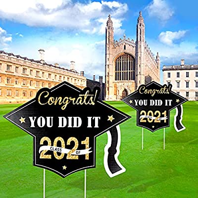 YAIKOAI 2 Pcs Graduation Yard Sign, Black Golden Corrugated Yard Sign with Stakes Class of 2021 Congrats Grad Decorations for Outdoor Lawn Party Supplies Decor Walkway Decor