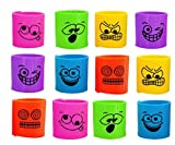KINPARTY ® - 12 Mini Muelles en colores variados con caras divertidas – Juguete ideal para regalar en fiestas de cumpleaños, bolsas y cajitas sorpresa, relleno de piñatas, como premio en juegos
