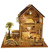 Rylai 3D Puzzles Miniature Dollhouse DIY Kit Light Paris Apartment Series Dolls Houses Accessories with Furniture LED Music Box