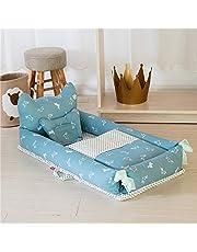 Mecoyas 軽量ポータブルベビーベッド新生児用添い寝ベッド布団枕3点セット取り外し可能おむつ替えシートベビーマットコンパクト旅行外出和室赤ちゃん座布団出産お祝い