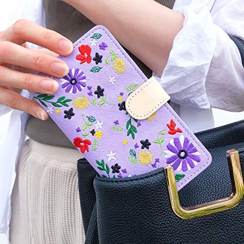 トレンドエスエスエス『ちょっとヌメ革花刺繍手帳型ケース』