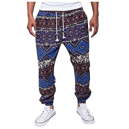 Vexiangni Pantalones largos para hombre, ligeros, de estilo étnico, para correr, para exteriores, de secado rápido, con bolsillos, con cintura elástica, para gimnasio, yoga, Azul E., XL