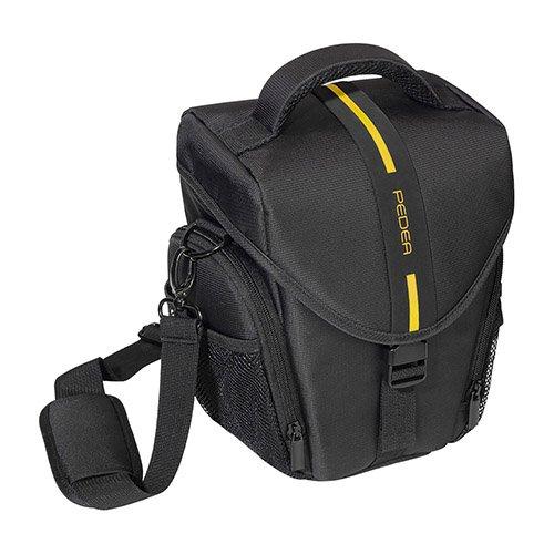 PEDEA DSLR-Kameratasche Essex Fototasche für Spiegelreflexkameras mit wasserdichtem Regenschutz, Tragegurt und Zubehörfächern, Gr. L schwarz/gelb