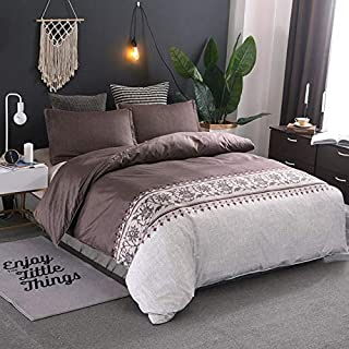 JZCXKJ 12 Colors Bedding Set Nordic Modern Style Marble Pattern Printed Duvet Cover SetDouble Full Queen King Size Bed Linen 8 Size 220x240cm (3Pcs) Brown