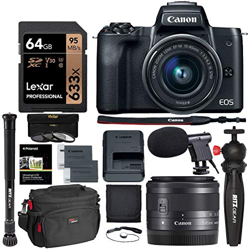 Canon EOS M50 15-45mm f/3.5-6.3 is STM Mirrorless Digital Camera Bundle