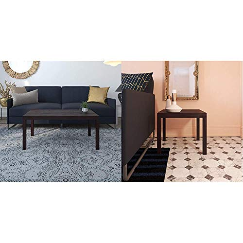 Ameriwood Home Parsons Coffee Table, Espresso & Parsons Modern End Table, Brown