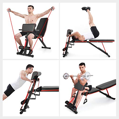 Fitnessclub Weight Bench, Multi-Purpose Foldable Incline Decline, 7 Position Adjustable Workout Bench With Adjustable Back Pillow, Pull Rope for Home Gym Full Body Workout Strength Fitness Training Exercise, 600 lbs Capacity