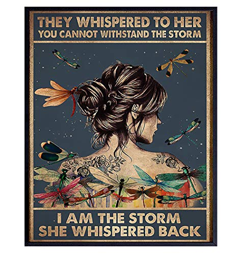 They Whispered to Her You Cannot Withstand The Storm - Positive Motivational Uplifting Encouragement Gifts for Women Teens - Inspirational Quote Wall Art - Boho Decoration Print - Dragonfly Wall Decor