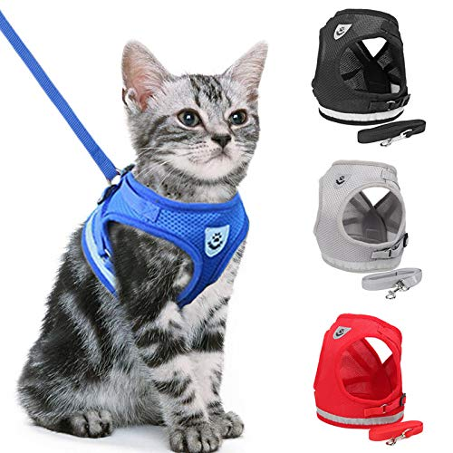 CINSKY Arneses y Correa de Perro para Perros pequeños, Malla de Nailon Reflectante, Juego de arnés para Gato, Cachorro, Chaleco y Ropa para Mascotas